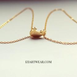 złota rybka naszyjnik z zawieszką pozłacany
