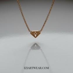 Naszyjnik z zawieszką diament pozłacany